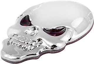 Astra Depot 3D Chrome Bone Red Eyes Metal Skull Emblem Sticker Decal Logo Fender Hood Car Motorcycle (Pack of 1)