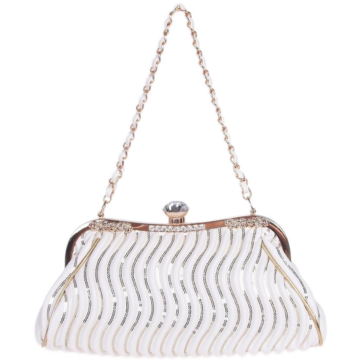 もう一度治世アスペクト(ファウジーヤ) Fawziya スパンコール大きなダイヤモンド付き2way ハンドバッグ ミニ ショルダーバッグ