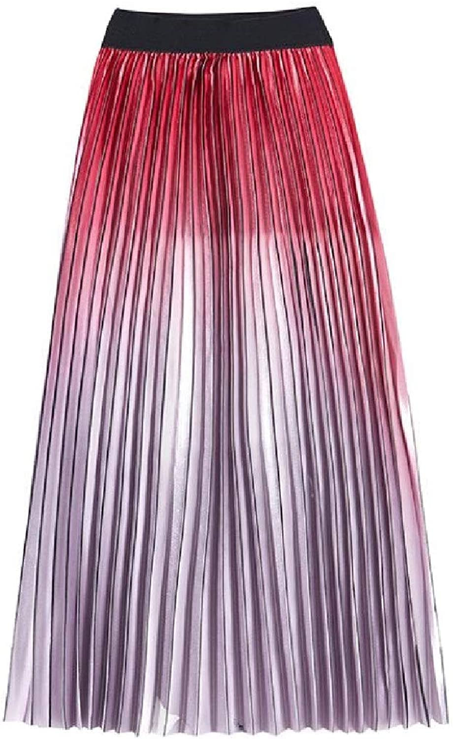 LXie Women Gradient Ramp High Rise Fashion Pleated Autumn Maxi Skirt