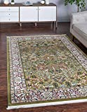 Unique Loom Narenj Collection Classic Traditional Hunting Scene Textured Green Area Rug (5' 0 x 8' 0)