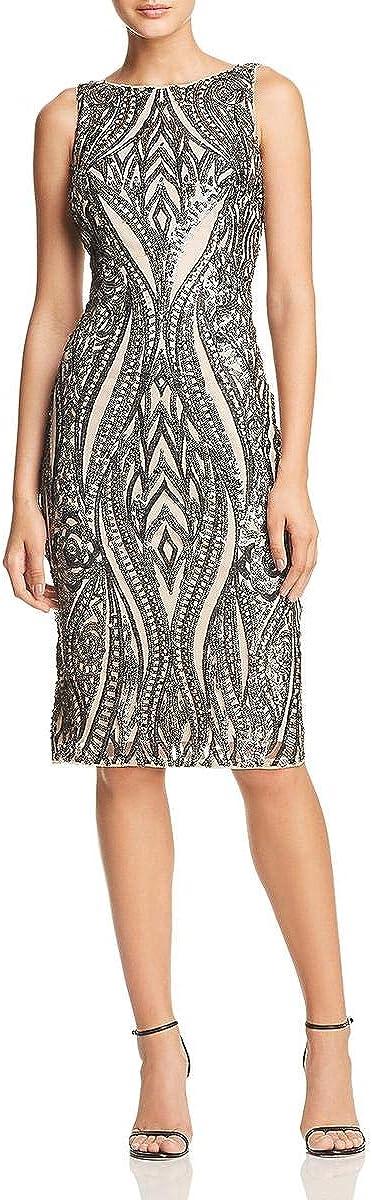 Adrianna Papell Women's Sleeveless Sequin Halter Sheath Short Dress