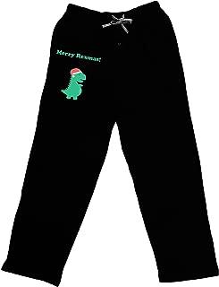 Merry Rexmas T-Rex Dinosaur Christmas Adult Lounge Pants - Black