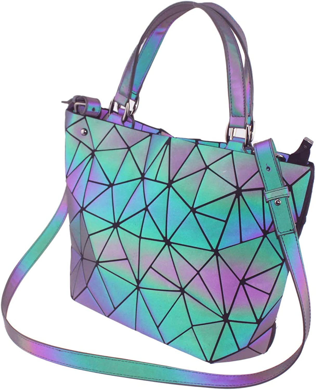 Aisunne Geometric Shard Lattice Luminous Handbags Women Tote Bag Ecofriendly Leather Purses and Messenger Bags