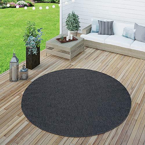 Paco Home In- & Outdoor Flachgewebe Teppich Terrassen Teppiche Natürlicher Look Navy Blau, Grösse:Ø 160 cm Rund
