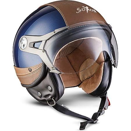 Soxon Sp 325 Urban Blue Jet Helm Motorrad Helm Roller Helm Scooter Helm Moped Mofa Helm Chopper Retro Vespa Vintage Pilot Ece 22 05 Visier Leather Design Schnellverschluss Tasche L 59 60cm Auto