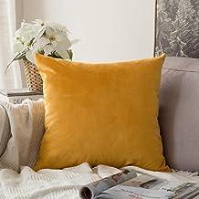 MIULEE Velvet Soft Soild Decorative Square Throw Pillow Covers Set Cushion Case for Sofa Bedroom Car, Velvet, Gold, 16''x16''