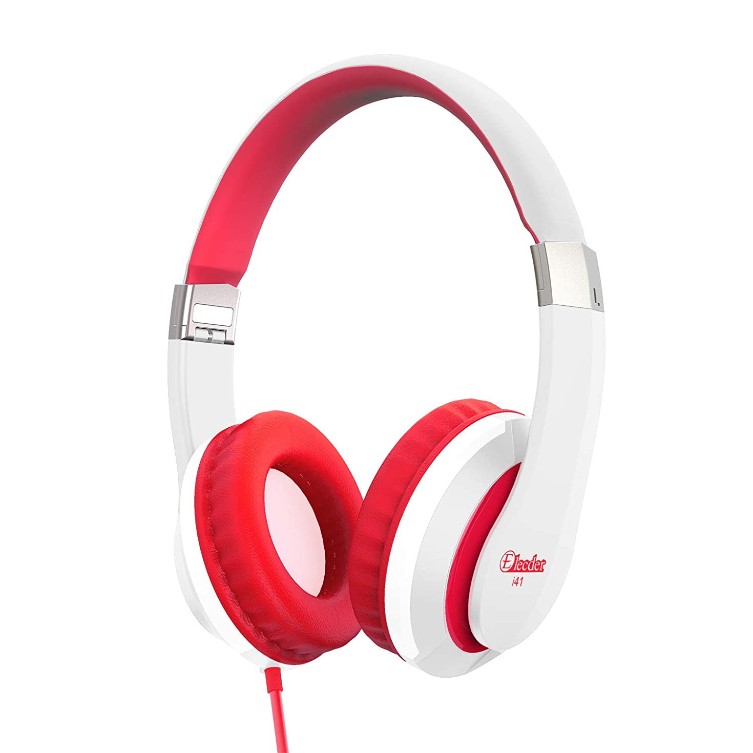 Kids Headphones Elecder i41 for Kids Children Girls Boys Teens Foldable Adjustable On Ear Headphones with 3.5mm Jack for iPad Cellphones Computer MP3/4 Kindle Airplane School White/Red