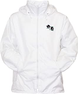 Sians Fashions Mens Bowling Jacket Fully Fleece Lined Waterproof Hoodded Jackets Detachable Hood White with Bowls Bowlers ...