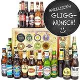 Härrzlisch'n Gliggwunsch/Geschenk Spruch lustig/Biere aus aller Welt 24x / Adventskalender Bier 2019