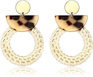 BSJELL Rattan Earrings Handmade Straw Woven Braid Round Drop Earrings Lightweight Bohemian Wicker Hoop Earrings for Women