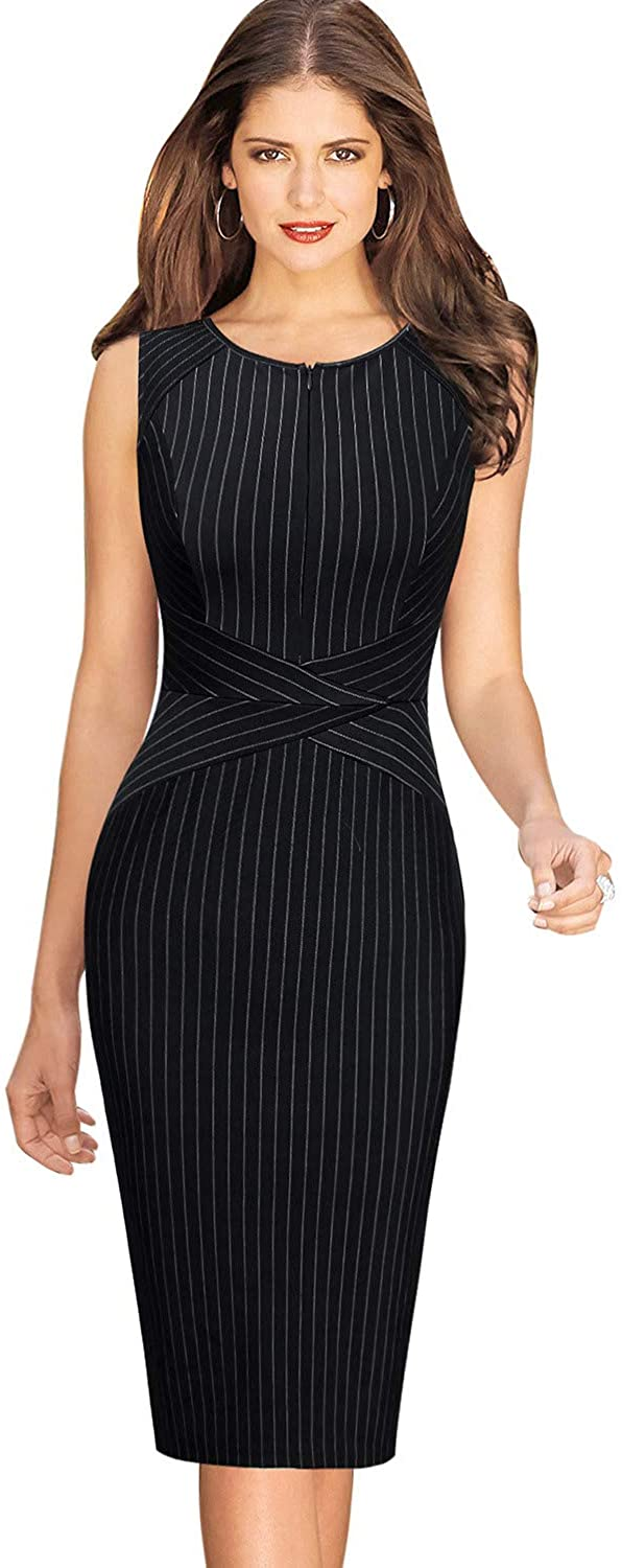 Vfshow Womens Front Zipper Slim Work Office Business Cocktail Bodycon Pencil Dress
