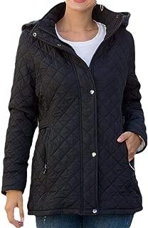 Women's Hooded Warm Button Zipper Long Sleeve Thicken Fleece Quilted Outwear Coats Tops