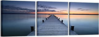 Yin Art- 3 Panels Ocean Scenery Canvas Print Wooden Trestle Bridge Seascape Wall Art Modern Artwork 30x30cm