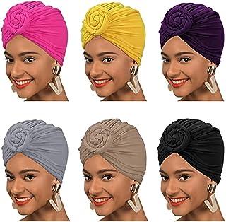 Head Wraps, ELECDON 6 Pcs Pre Tied Knot Scarf Shawl for Women Soft Headwrap Pleated Turban African Headwrap Hair Accessories