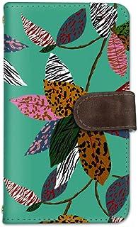 seventwo LG Q Style2 L-01L スマホケース 手帳型 携帯ケース ミラー付 エルジー キュー スタイル ツー 【C.ミント】 葉 アニマル柄 葉っぱ flower_130