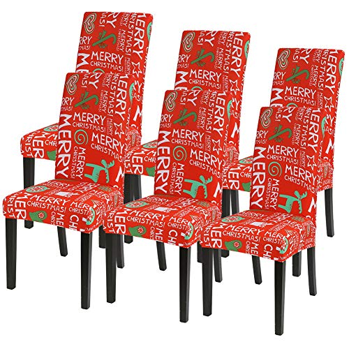Ivyshion – Juego de 4/6 fundas de silla de Navidad universales extensibles, funda de silla de comedor extraíble para decoración del hogar, hotel, ceremonia, boda, reunión, Navidad