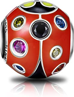 Ladybug Christmas Charms Gifts 925 Sterling Silver Red Enamel Animal Charms with 5A Cubic Zirconia Birthday Gifts for Teen Girls