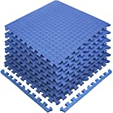 Sivan Health and Fitness Puzzle Exercise Mat EVA Foam Interlocking Tiles—Protective Flooring for Gym, Garage Flooring, Playroom, Workshop, Basement, and More (Blue)