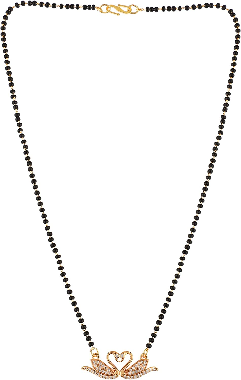Efulgenz Mangalsutra Indian Black Beaded Gold Tone CZ Cubic Zirconia Love Heart Pendant Necklace Jewelry