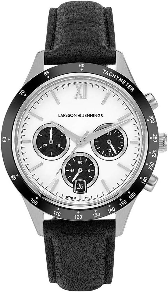 ساعة Larsson & Jennings Rally للرجال والنساء 39 مم / فضي / أسود / ساتان أبيض حزام جلد أسود CHR39-LBK-SBW