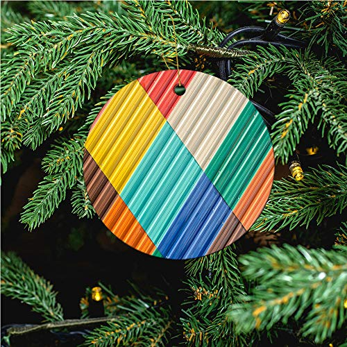 aosup The Colorful Galvanized/Christmas Ornaments 2020 Christmas Ceramic Pendant Personalized Creative Christmas Decorations Double Sided Christmas Tree Ornament №SW13763