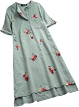 RAINED-Women Casual Dress Irregular Floral Embroidered Pockets Short Sleeve Summer Midi Dress Tee Shirt Long Blouse