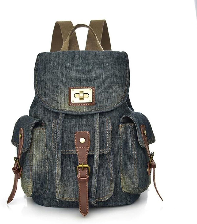 Liu Frauen Rucksack Rucksack Retro-Denim-Umhngetasche Weiblichen Wilden Rucksack Canvas Tasche beilufige Reise Multi-Pocket-Rucksack (Gre  26  16  36cm)