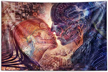 """Psychedelic Art Tapestry 40x60 Hanging Modern Art Tapestry Third Eye Tapestries /""""The Grace of Mer Tapestry/"""" Wall Tapestry by Autumn Skye"""