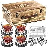 Hshrish Whiskygläser Set 4, Medusa geschnitzter bleifreier Becher, Short Bar Whiskyglas, 300 ml, 4 Tassen 4 Untersetzer 8 Eissteine 1 Zange, Geschenkbox aus Holz für Männer