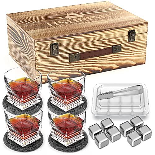 Hshrish Set di bicchieri da whisky, Dea intagliata vecchio stile, 300 ml, 4 confezione, kit di pinze di pietra per cubetti di ghiaccio sottobicchiere di vetro, regalo per uomo
