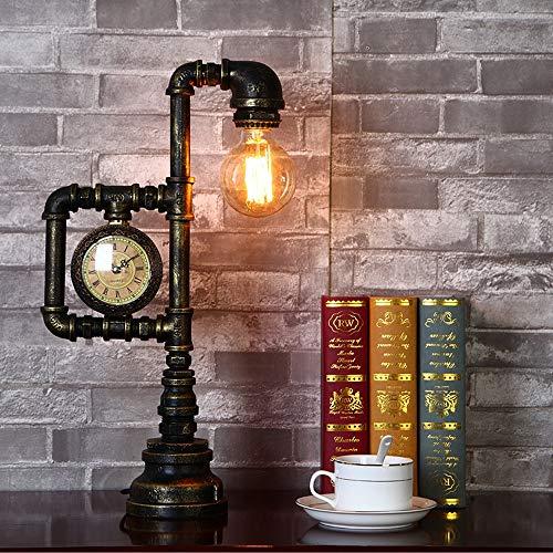 XiaoDong1 Americano Retro Estilo Industrial Personalidad Tipo Reloj Lámpara De Mesa Lámpara De Plomería Lámpara De Mesa Decoración Creativa Botón Estilo Pintura Restaurante Bar Cafetería