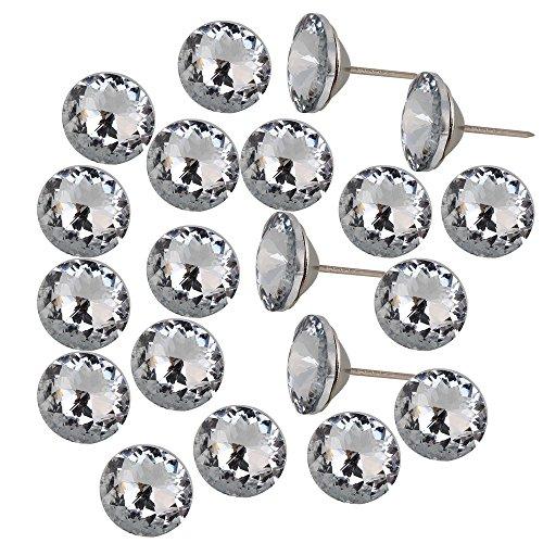 Argenté/blanc 25 mm de diamètre avec support de canapé-lit boutons de clous de tapissier Décoration murale-Lot de 20