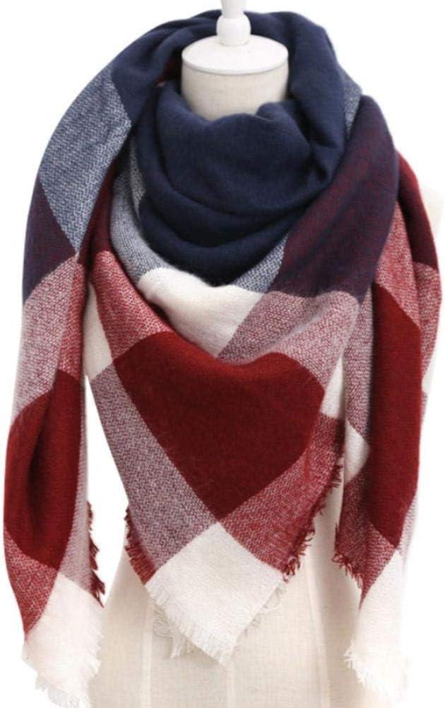 Wnakeli 1PCS Women's Fashion Faux Cashmere Scarf Triangle Scarf Big Grid Winter Warm Lattice Large Scarf