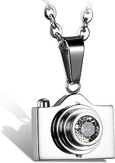 Flongo Collana Donna Uomo Classico Fashion Stile Pendente Macchina Fotografica Figura Argento in Acciaio inox Buon Regalo