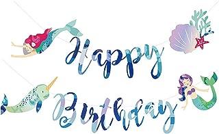 Tetor Mermaid Happy Birthday Banner Mermaid Birthday Party Banner Party Sign for Kid Birthday Party Decoration