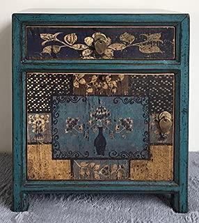 OPIUM OUTLET Mesita de Noche Dormitorio Vintage China Antigua Oriental Azul, Comoda pequeña asiatica Entrada Madera