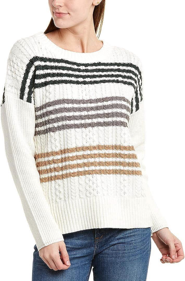 BCBGMAXAZRIA Womens Cable Knit Striped Pullover Sweater