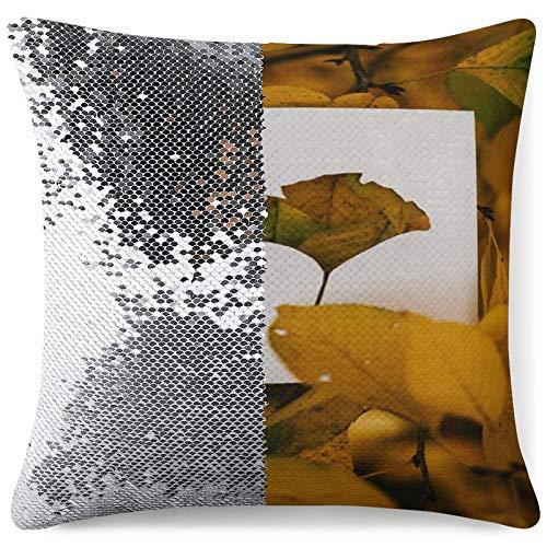 DKE&YMQ Funda de almohada con purpurina, hoja botánica caduca de ramita vegetal, patología, planta anual, planta otoñal, planta perenne