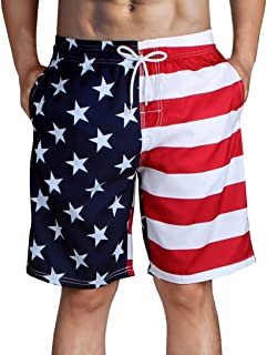 Forthery Mens Swim Trunks Patchwork Surfing Beach Board Shorts with Mesh Lining