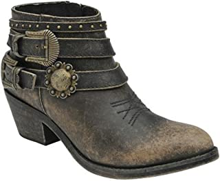 Corral Urban Women's Multi Buckle Straps Distressed Black Leather Ankle Cowboy Boots