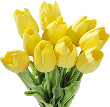 Sonline 10pcs Yellow Latex Real Touch Tulip Flower with Leaves For Wedding Bouquet Decorate