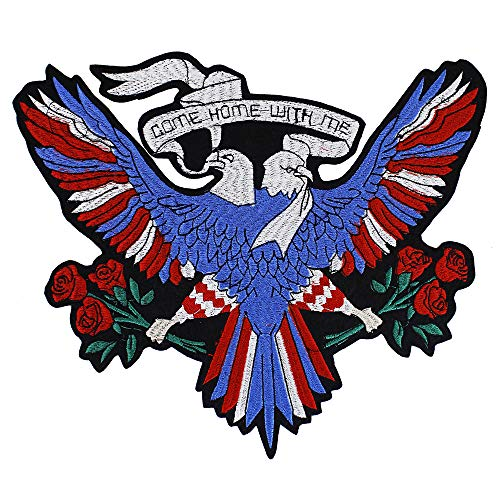 EMDOMO Parches de Doble águila, para Bordar con Rosas, para Planchar en la Espalda, Chaqueta Vaquera, Ropa de Bricolaje, 1 Pieza