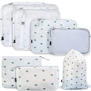 BAGAIL 7 Set / 8 Set Packing Cubes Luggage Packing Organizers for Travel Accessories(7 Set Cactus)