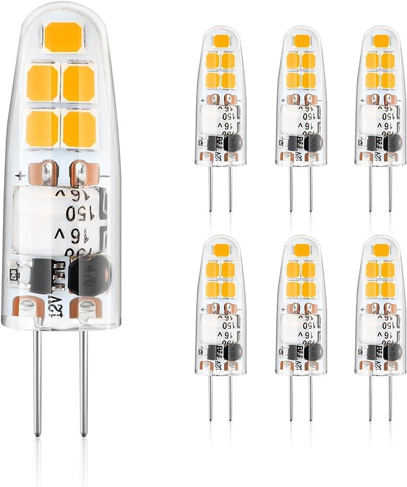 G4 LED Lampen, Defurhome 2.5W LED Leuchtmittel ersetzt 20W Halogenlampen, 220LM,2900K Warmweiß LED Birnen Glühbirne, 12V AC/DC 360°Abstrahlwinkel Kein Flackern Nicht Dimmbar,6er Pack