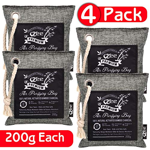 VZee Bamboo Charcoal Air Purifying Bags 4 Pack X 200g, Easy To Hang, Bigger Chunks Of Activated Bamboo Charcoal, 10x More Odor Absorption, Reusable Up To 2 Years, Aesthetic Design, Charcoal Bags Natural Air Purifier, Odor Eliminator For House, Charcoal Air Purifier Bags, Charcoal Bags Odor Absorber, Charcoal Air Purifying Bag, Bamboo Charcoal Odor Absorber, Deodorizers for Home, Charcoal Odor Removal Bags, Charcoal Bag, Bamboo Charcoal Bags, Air Purifier Bags, Pet Odor Removal Bag, Charcoal Bag