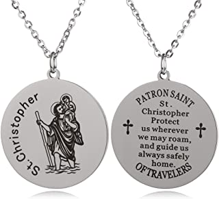 St Christopher Patron Saint of Travelers Marine Corps Air Force Army Navy Coast Guard Round Tag Necklace Religious Faith Gift
