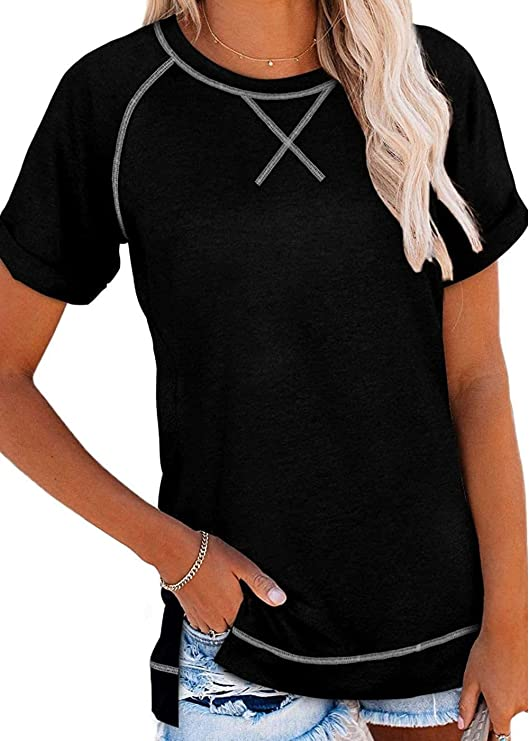 Thereadict Women's Casual Short Sleeve Crewneck Tops Solid Color Loose Fit Tshirts Tops
