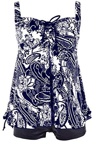 Damen Retro Geblümter Badeanzug Große Größen Zweiteiliger Badebekleidung Pin Up Tankini Bauchweg Bademode, Größe DE 48/Etikettengröße 50, Farbe Dunkelblau