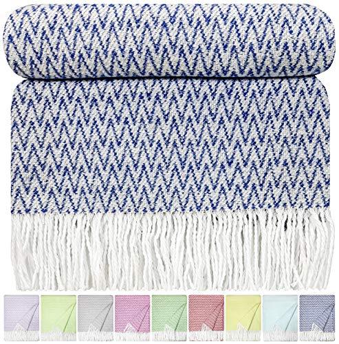 STTS International Baumwolldecke Wohndecke Kuscheldecke Tagesdecke 100prozent Baumwolle 140 x 200 cm sehr weiches Plaid (Blau zick-Zack)