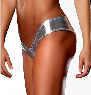 188f45904 Capray Womens Sexy Low-Waist Shiny Metallic Lingerie G-String Imitation Leather  Underwear Thong